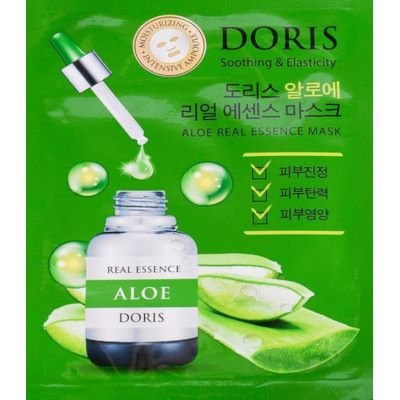 Маска для лица ампульная JIGOTT DORIS с экстрактом алоэ Aloe Real Essence Mask, 25 мл.
